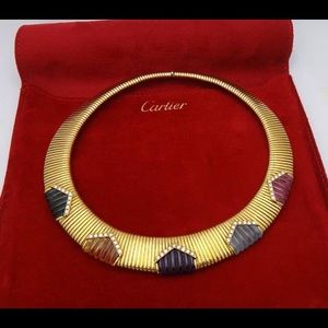 Cartier 18K Gold Carved  Gemstone Diamond Necklace